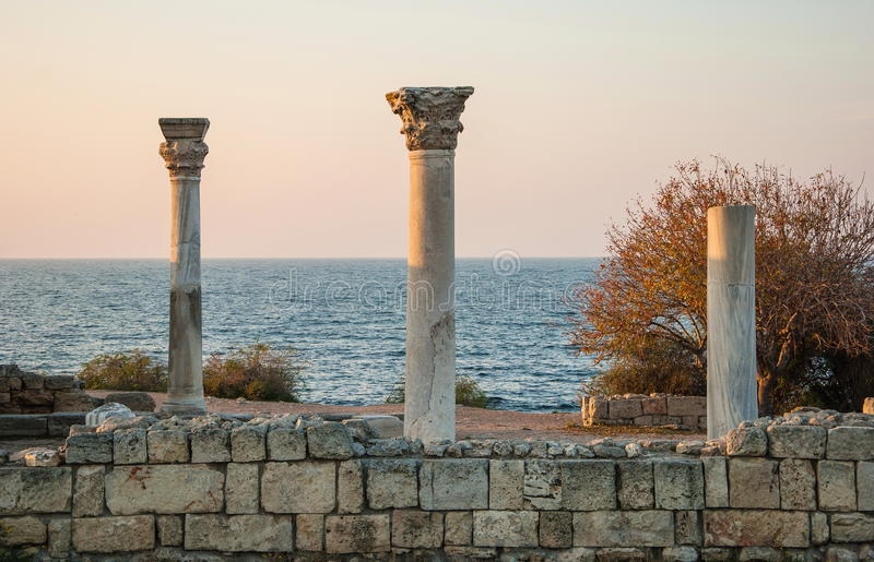 Ancient Chersonese at sunset stock images
