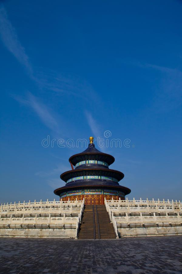 The temple of heaven in Beijing Vertical shooting. In ancient China, the temple of heaven was a place for emperors of Ming and qing dynasties to offer sacrifices stock photos