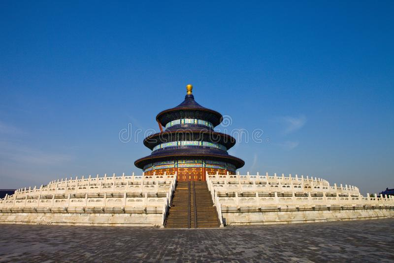 The temple of heaven in Beijing. In ancient China, the temple of heaven was a place for emperors of Ming and qing dynasties to offer sacrifices to the heaven and stock photography