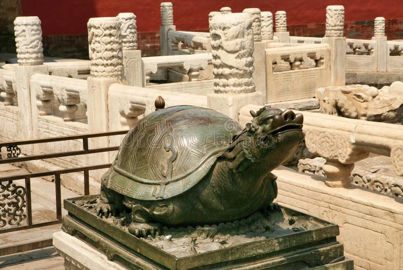 Bronze turtle sitting on a pedestal in the Forbidden City in Beijing. royalty free stock photos