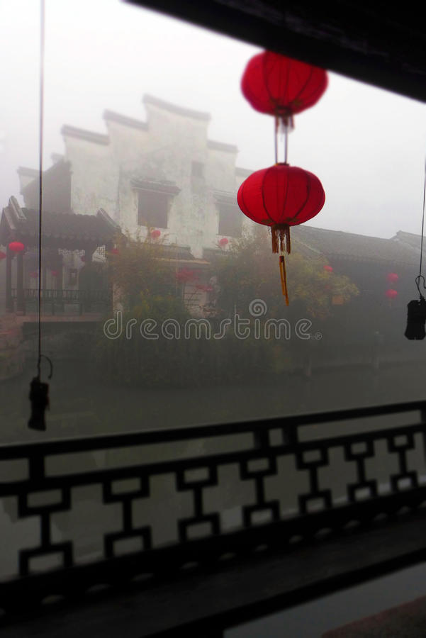 Ancient China water town, morning mist stock photo