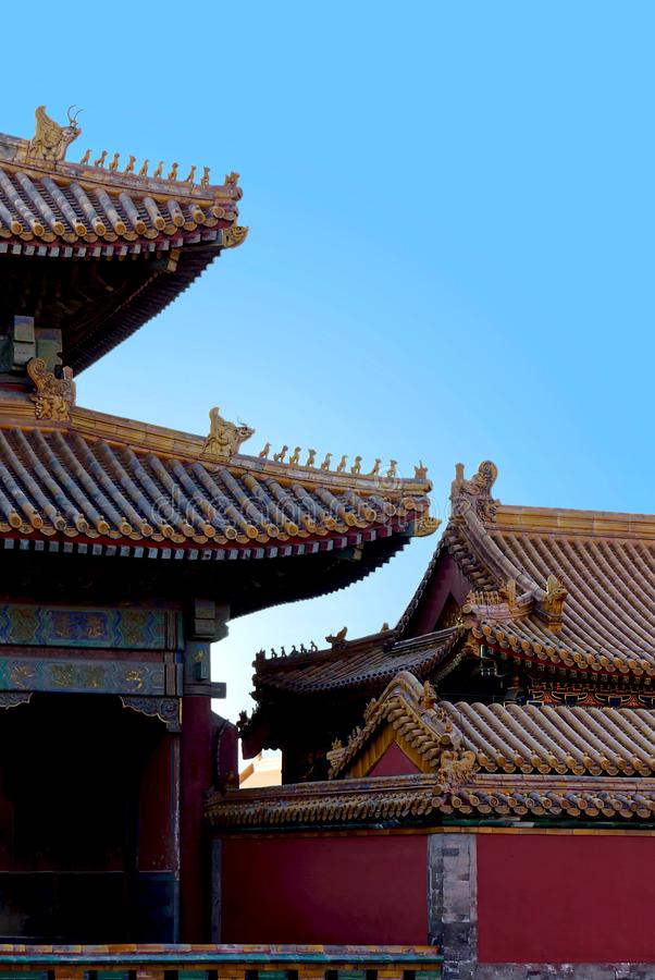 Ancient chinese architecture. historic buildings against the blue sky. beautiful traditional patterns. The Imperial Palace in. Beijing, Forbidden City royalty free stock image
