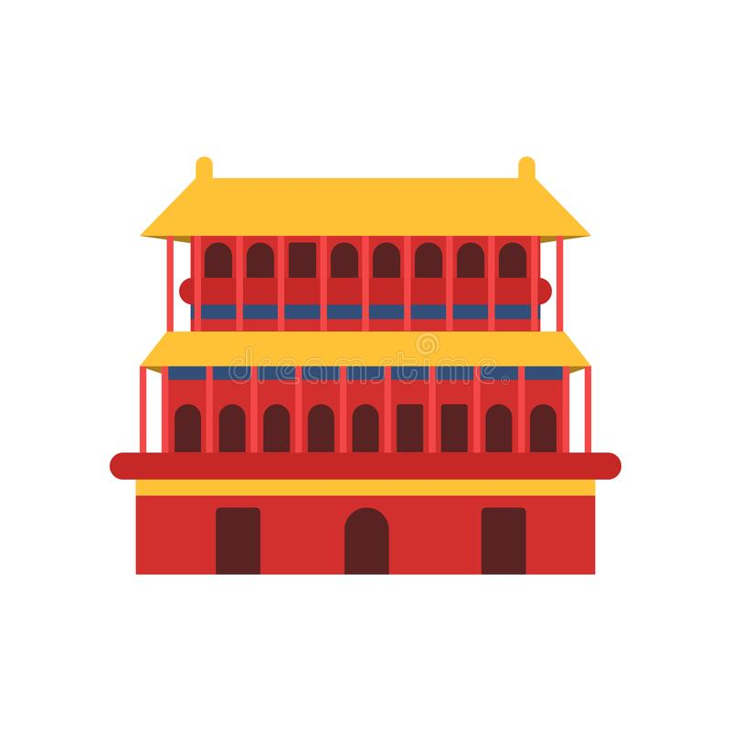 Ancient chinese architecture. Icon of Pagoda temple. Culture symbol of China. Buddhist house in red color with yellow vector illustration