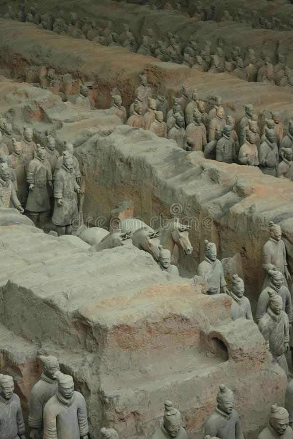 Ancient Chinese army. China, Xi`an: Archaeological excavations of the clay army of the emperor Qin Shi Huang. The terracotta army is a figure of ancient royalty free stock photos