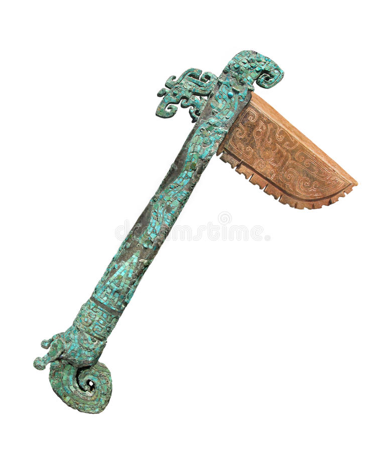Free Ancient Chinese Axe Isolated. Royalty Free Stock Photography - 31489427