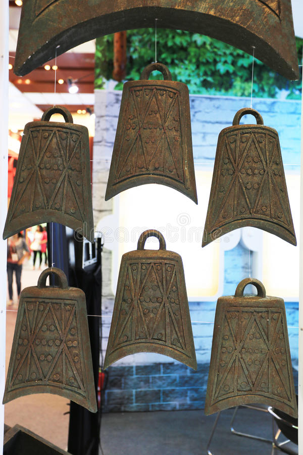 Ancient Chinese bronze chime. Chinese traditional Musical Instruments bells stock photos