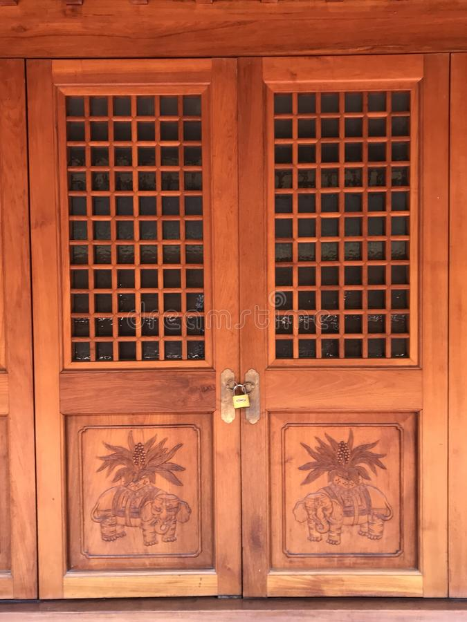 Ancient Chinese closed door royalty free stock image