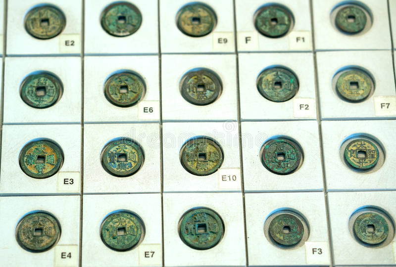 The ancient Chinese coins of the various dynasties in the museum. Are preserved today royalty free stock images