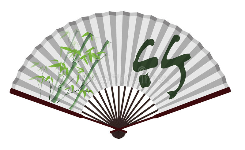Ancient Chinese fan with bamboo pattern vector illustration