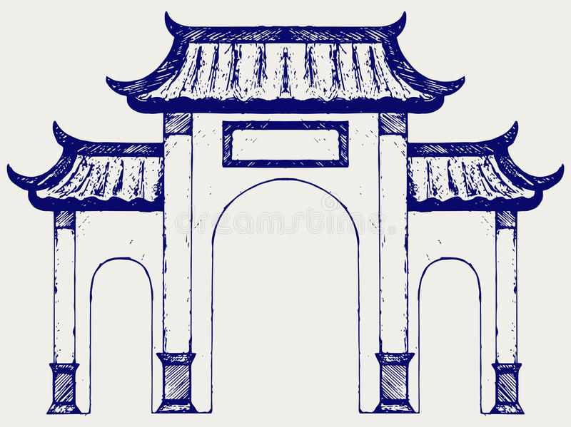 Ancient Chinese gate. Doodle style royalty free illustration