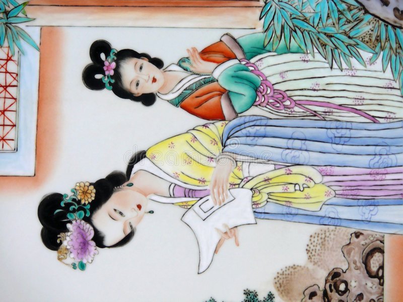 Ancient Chinese Painting royalty free illustration