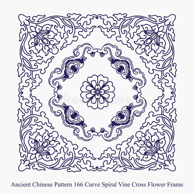 Ancient Chinese Pattern of Curve Spiral Vine Cross Flower Frame. Can be used for both print and web page royalty free illustration