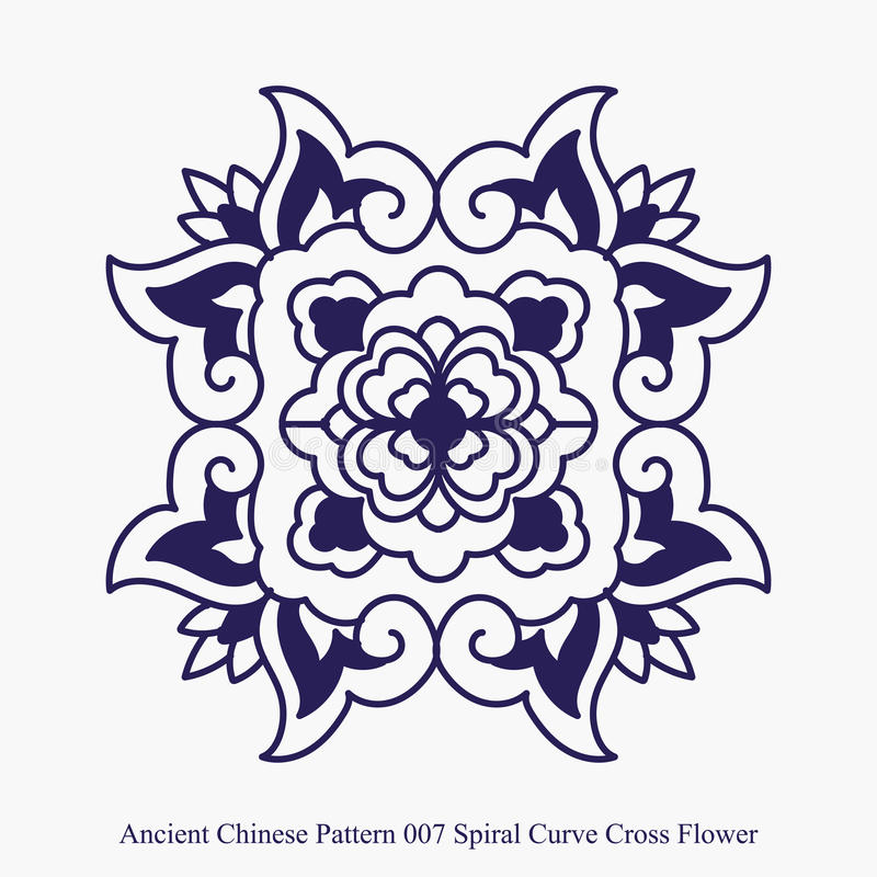 Ancient Chinese Pattern of Spiral Curve Cross Flower stock illustration