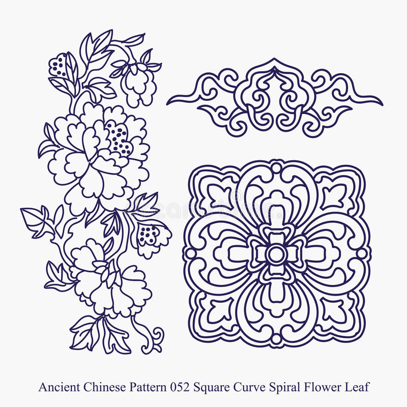 Ancient Chinese Pattern of Square Curve Spiral Flower Leaf royalty free illustration