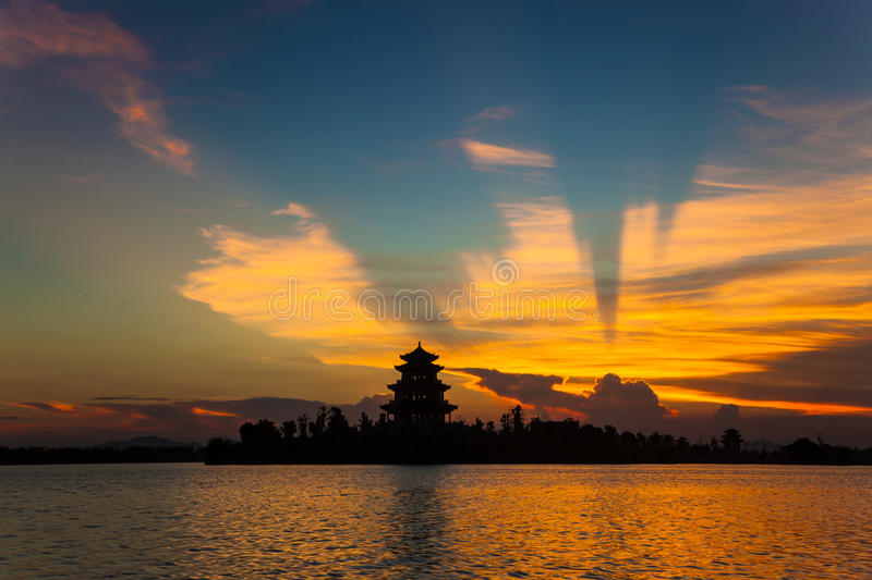 Download Ancient Chinese Pavilion Under Sunset Stock Photos - Image: 25740933