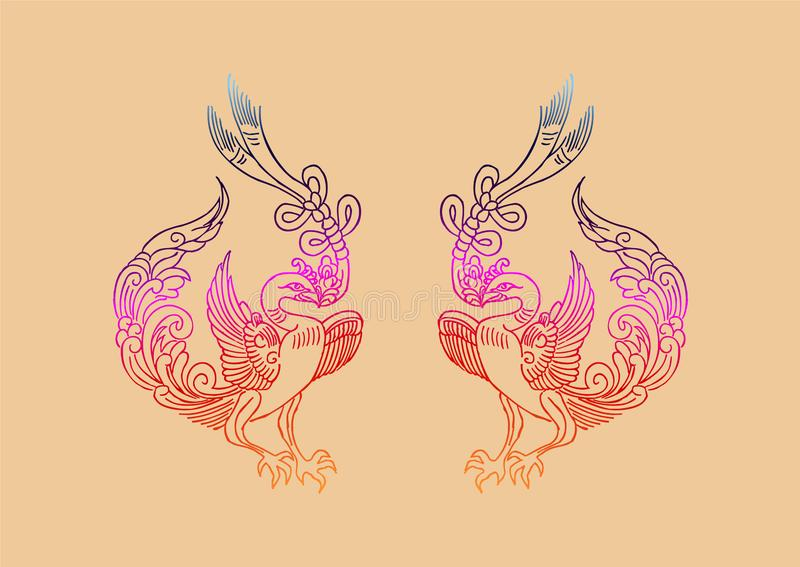 The Ancient Chinese Phoenix pattern vector illustration