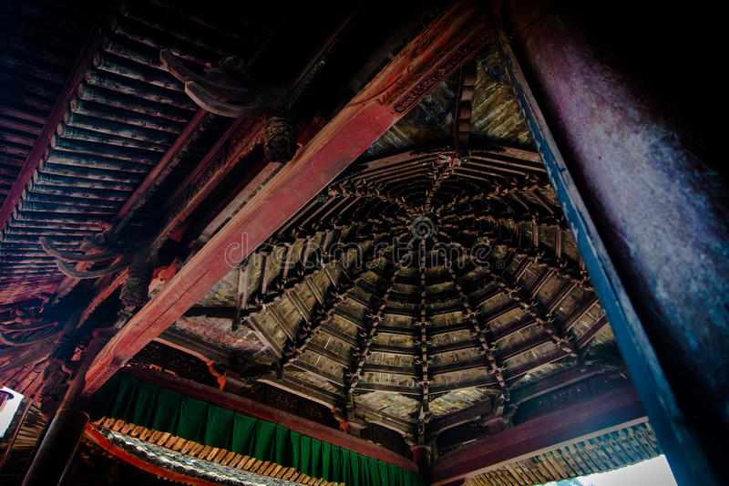 Ancient chinese roof inside stock images