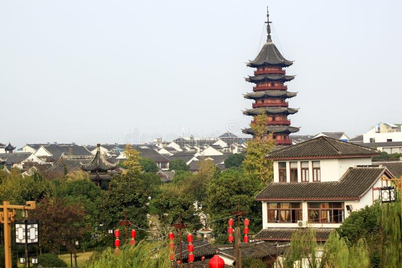 Ancient Chinese Ruigang Pagoda Suzhou China. Ancient Chinese Ruigang Pagoda Dates Back to Song Dynasty Red Lanterns Suzhou Style Buildings Apartments Suzhou stock photography