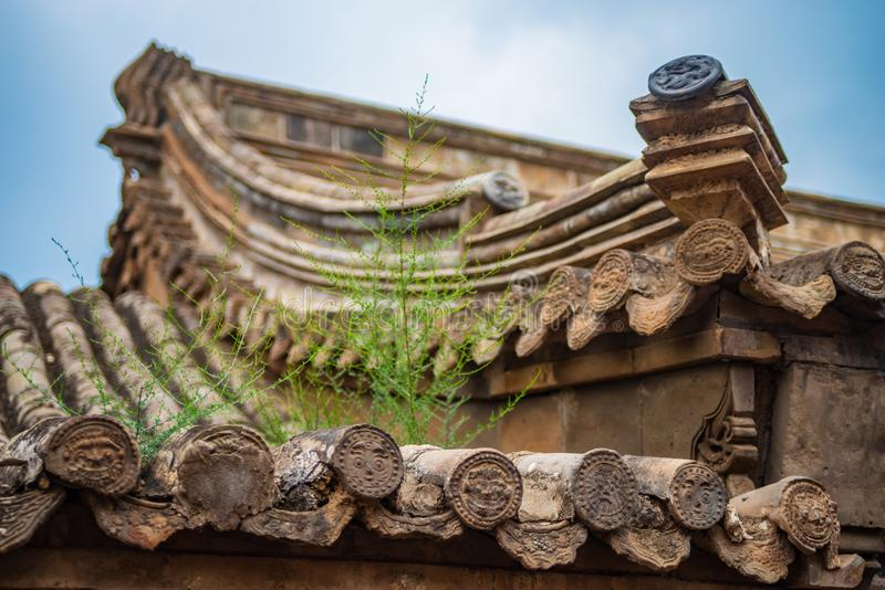 Chinese ancient roof. Ancient chinese style roof in Hebei province ,China stock photography