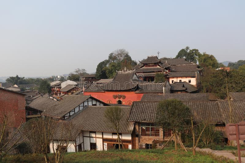 Ancient Chinese town building group stock photos
