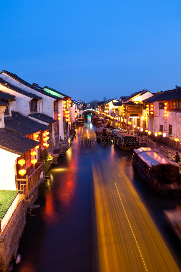 Ancient Chinese town at night stock photos
