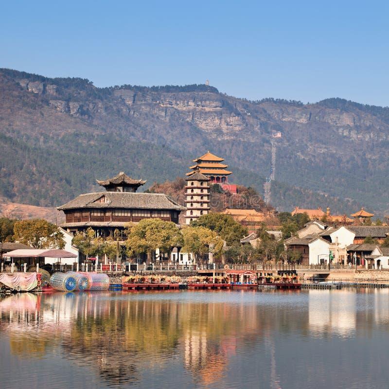 Ancient Chinese village at idyllic lakeside, Hengdian, China royalty free stock photography