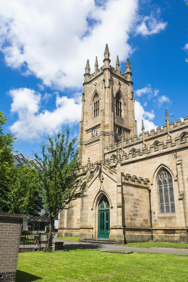 Ancient church in Sheffield, United Kingdom. Ancient church with blue sky in Sheffield, United Kingdom stock photography