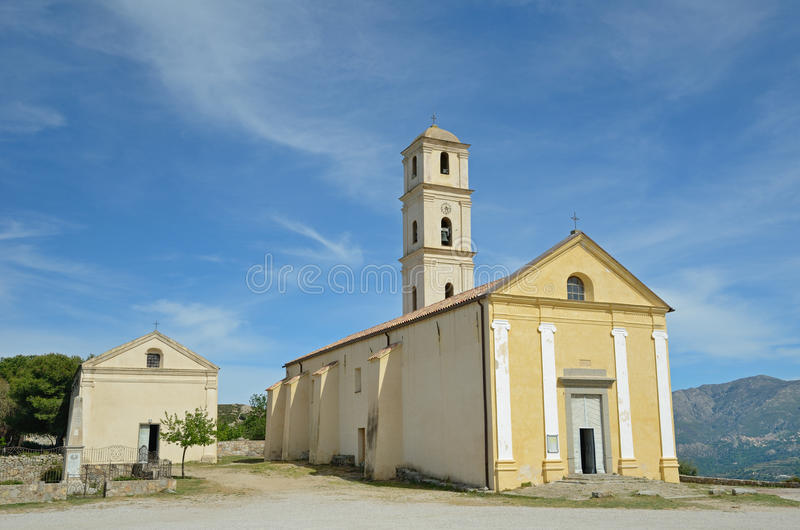 Ancient church in the Corsican village Sant`Antonino stock image