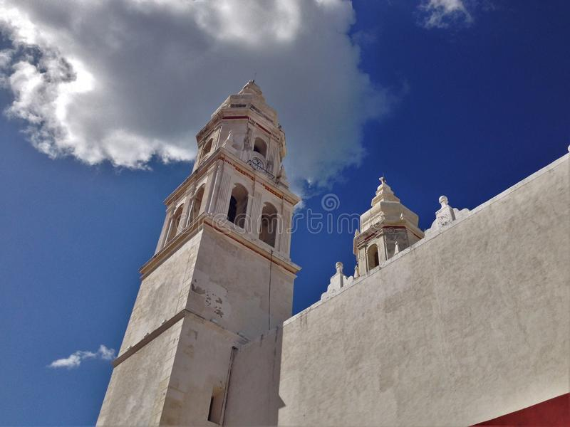 Ancient Church in downtown Campeche. Ancient Church in old downtown Campeche royalty free stock photo