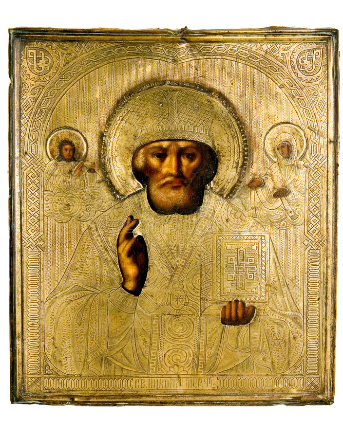 Ancient church icon. One of attributes of religion stock photography