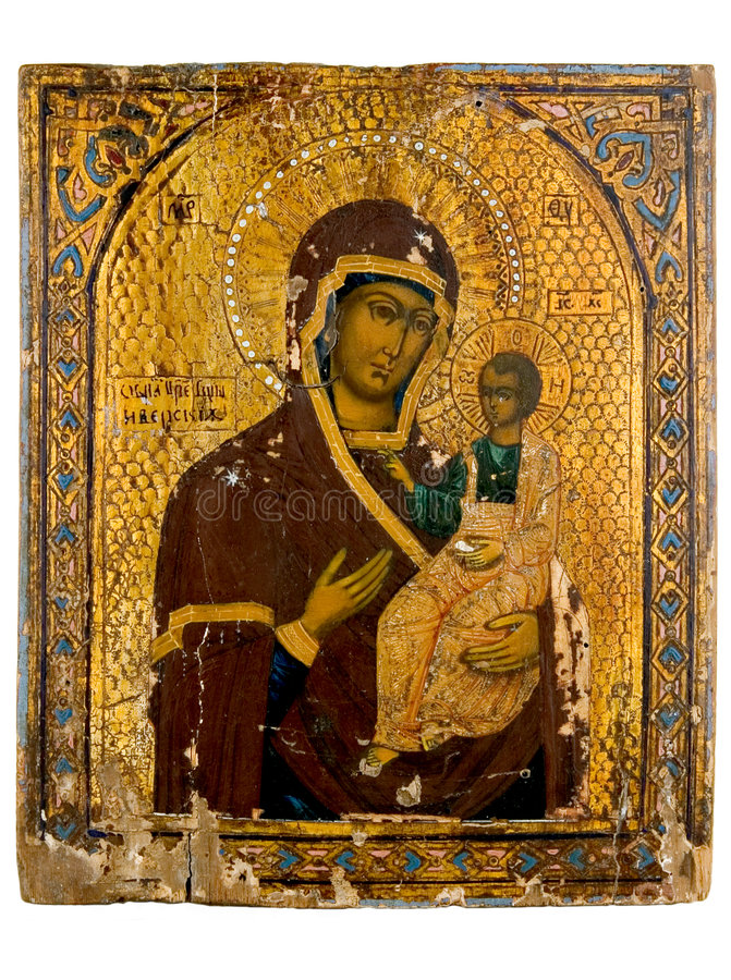 Ancient church icon. One of attributes of religion stock photos