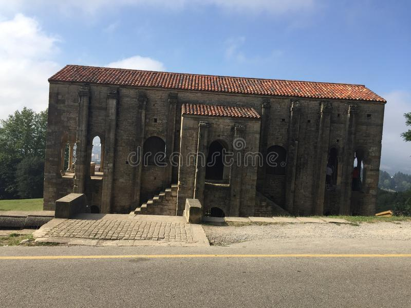 Ancient Church on mount Naranco in Oviedo Asturias Spain stock images