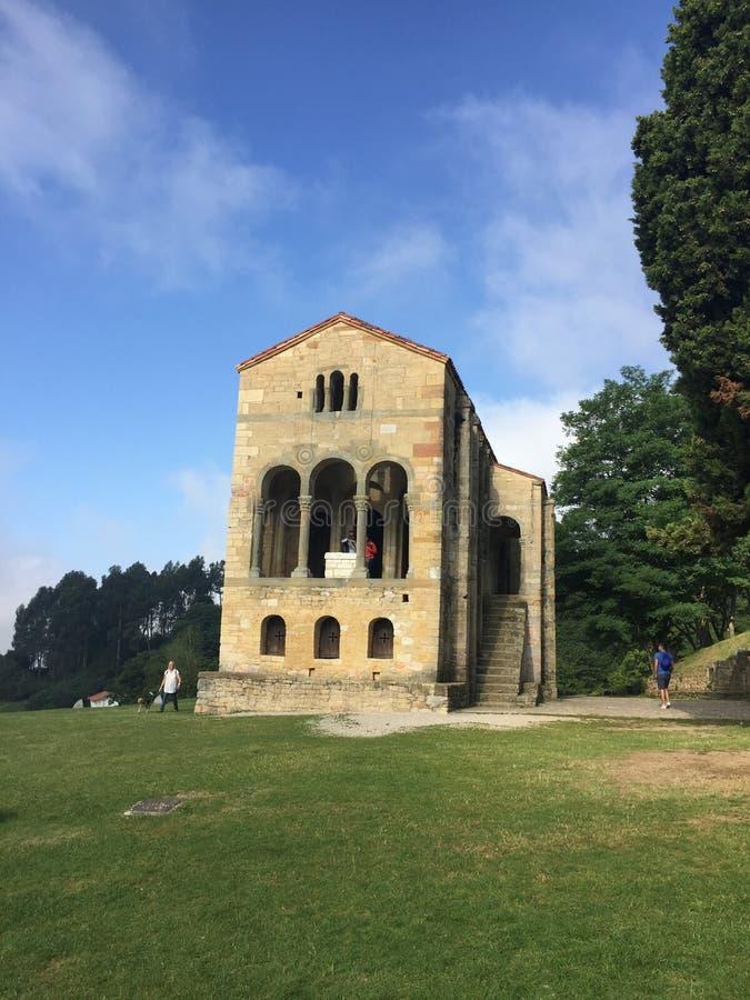 Ancient Church on mount Naranco in Oviedo Asturias Spain stock photos