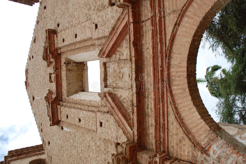 Ancient church ruins. Details of the ruins of an old Spanish church in Zana, Peru royalty free stock photography