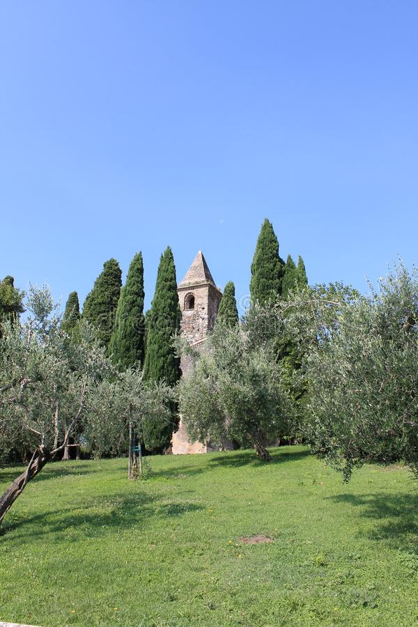 Ancient Church of San Pietro in Mavino in Sirmione Italy royalty free stock images