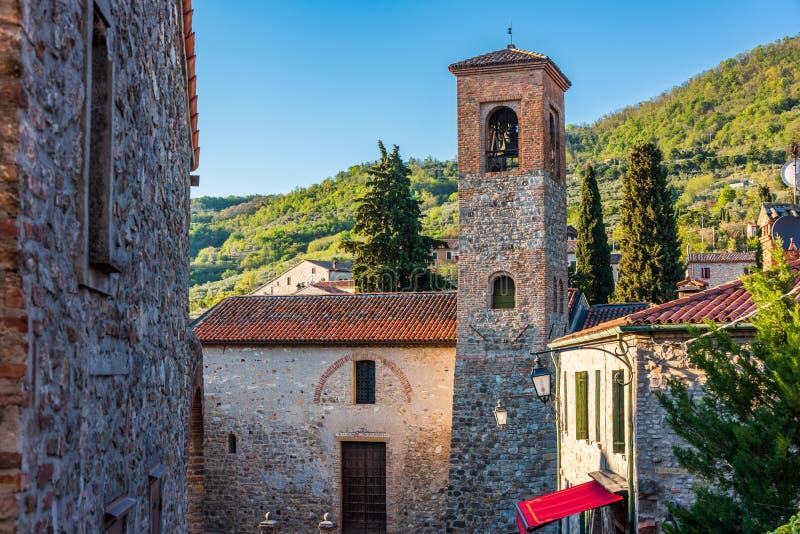 Church in Arqua` Petrarca stock photo