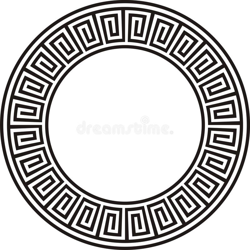 Ancient circular design in black and white stock photography