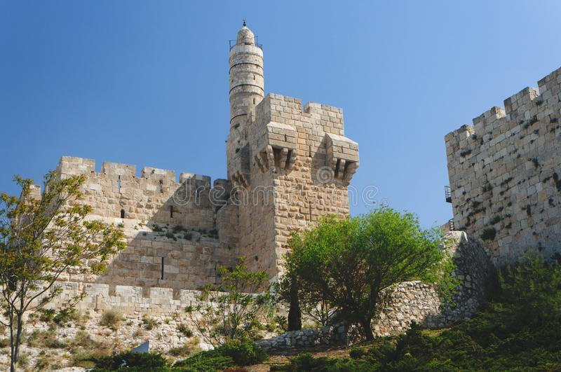 Ancient citadel and Tower of David in Jerusalem stock image