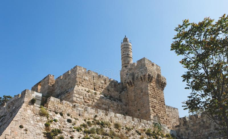 Ancient citadel and Tower of David in Jerusalem. Old City stock images