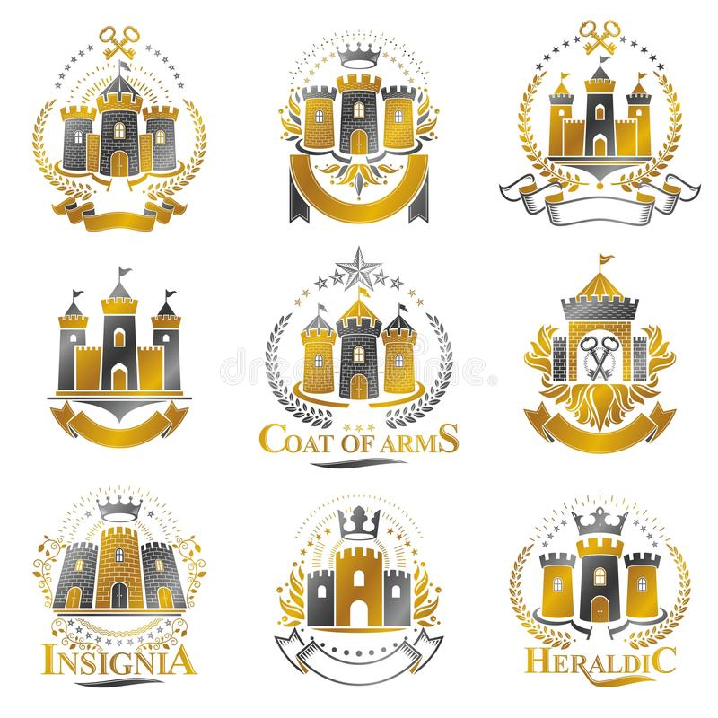 Ancient Citadels emblems set. Heraldic vector design elements co. Llection. Retro style label, heraldry logo vector illustration