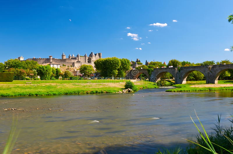 The ancient Citte of Carcassonne in France stock photos