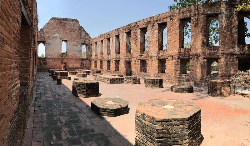 Ancient city of Ayutthaya the second capital of the Siamese Kingdom. The city wad razed destroyed by the Burmese now an archaeological ruin, characterized by royalty free stock images