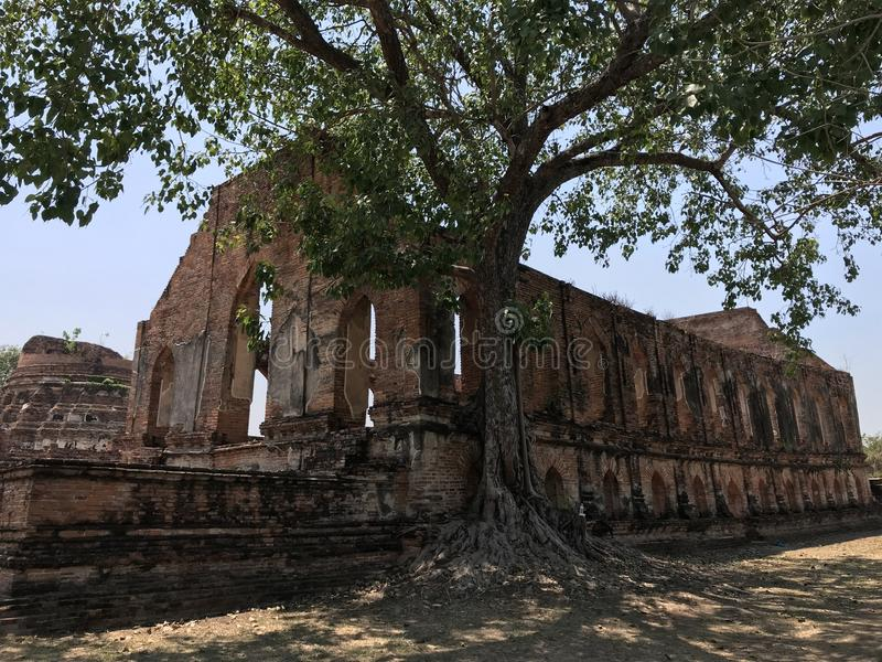 Ancient city of Ayutthaya the second capital of the Siamese Kingdom. The city wad razed destroyed by the Burmese now an archaeological ruin, characterized by royalty free stock image