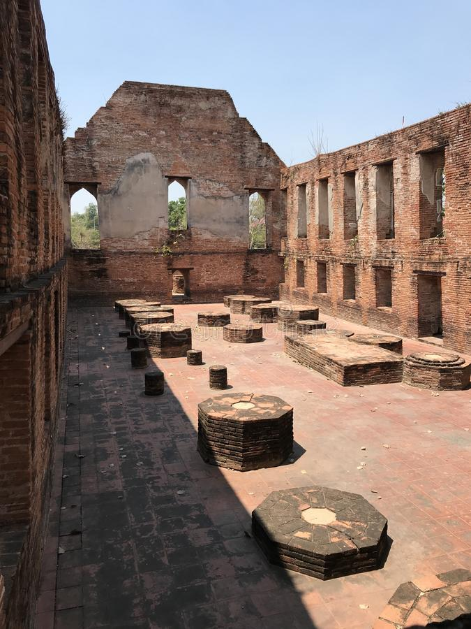 Ancient city of Ayutthaya the second capital of the Siamese Kingdom. The city wad razed destroyed by the Burmese now an archaeological ruin, characterized by royalty free stock photos