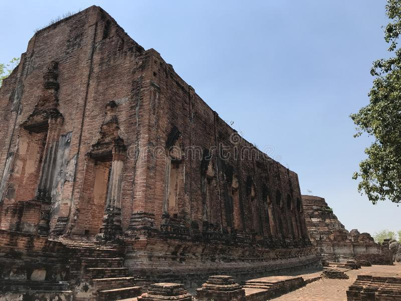 Ancient city of Ayutthaya the second capital of the Siamese Kingdom. The city wad razed destroyed by the Burmese now an archaeological ruin, characterized by stock image
