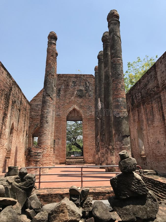 Ancient city of Ayutthaya the second capital of the Siamese Kingdom. The city wad razed destroyed by the Burmese now an archaeological ruin, characterized by stock photo