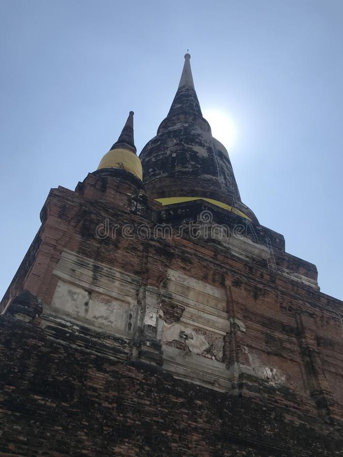 Ancient city of Ayutthaya the second capital of the Siamese Kingdom. The city wad razed destroyed by the Burmese now an archaeological ruin, characterized by royalty free stock photography