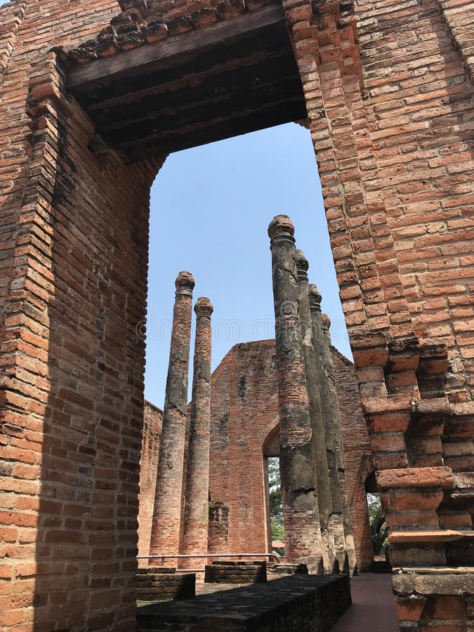 Ancient city of Ayutthaya the second capital of the Siamese Kingdom. The city wad razed destroyed by the Burmese now an archaeological ruin, characterized by stock photos
