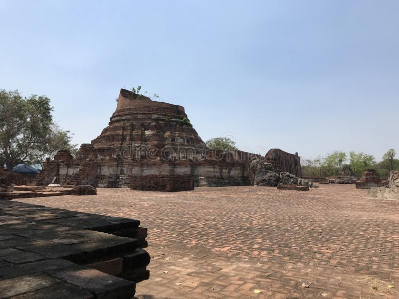 Ancient city of Ayutthaya the second capital of the Siamese Kingdom. The city wad razed destroyed by the Burmese now an archaeological ruin, characterized by royalty free stock photo