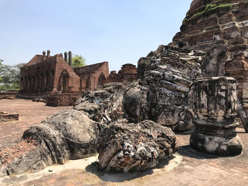 Ancient city of Ayutthaya the second capital of the Siamese Kingdom. The city wad razed destroyed by the Burmese now an archaeological ruin, characterized by stock photography